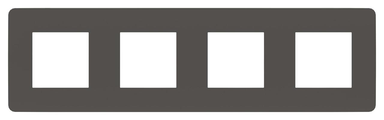 Рамка 4-ая (четверная), Дымчато-серый/Белый, серия Unica Studio, Schneider Electric