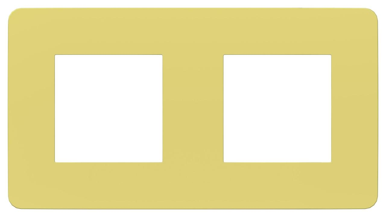 Рамка 2-ая (двойная), Зеленое яблоко/Бежевый, серия Unica Studio, Schneider Electric