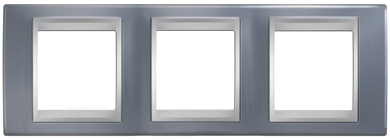 Рамка 3-ая (тройная), Грэй/Алюминий (металл), серия UNICA TOP/CLASS, Schneider Electric