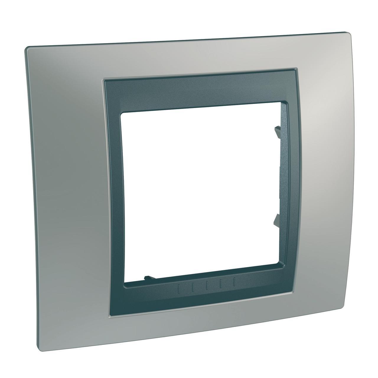 Рамка 1-ая (одинарная), Никель/Графит (металл), серия UNICA TOP/CLASS, Schneider Electric