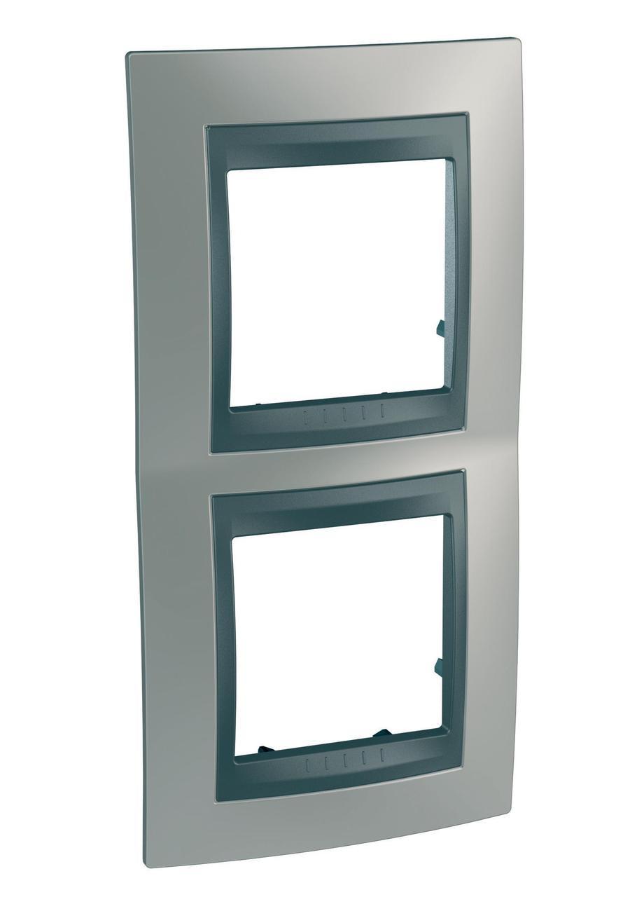 Рамка 2-ая (двойная) вертикальная, Никель/Графит (металл), серия UNICA TOP/CLASS, Schneider Electric