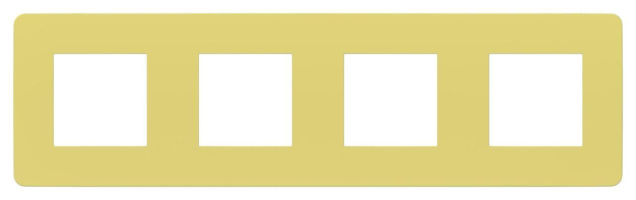 Рамка 4-ая (четверная), Зеленое яблоко/Бежевый, серия Unica Studio, Schneider Electric