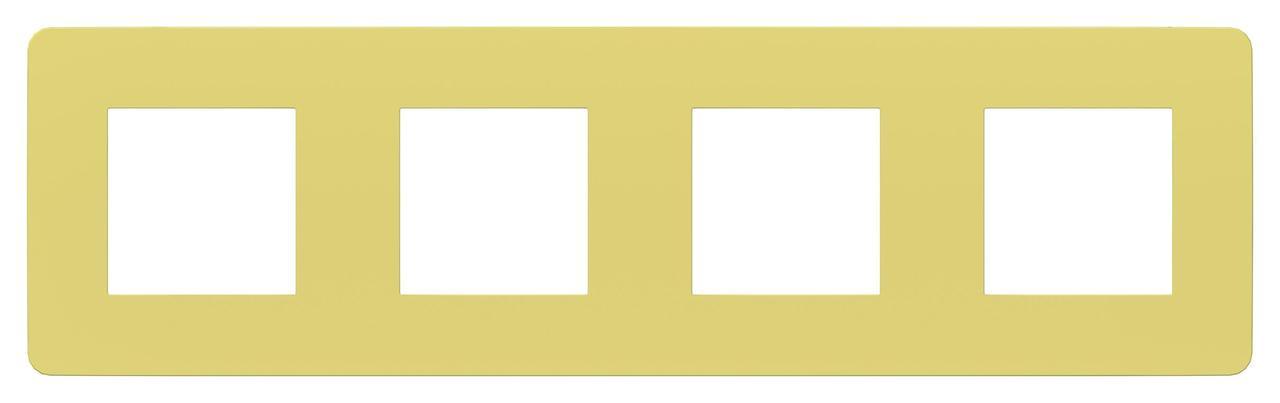 Рамка 4-ая (четверная), Зеленое яблоко/Белый, серия Unica Studio, Schneider Electric