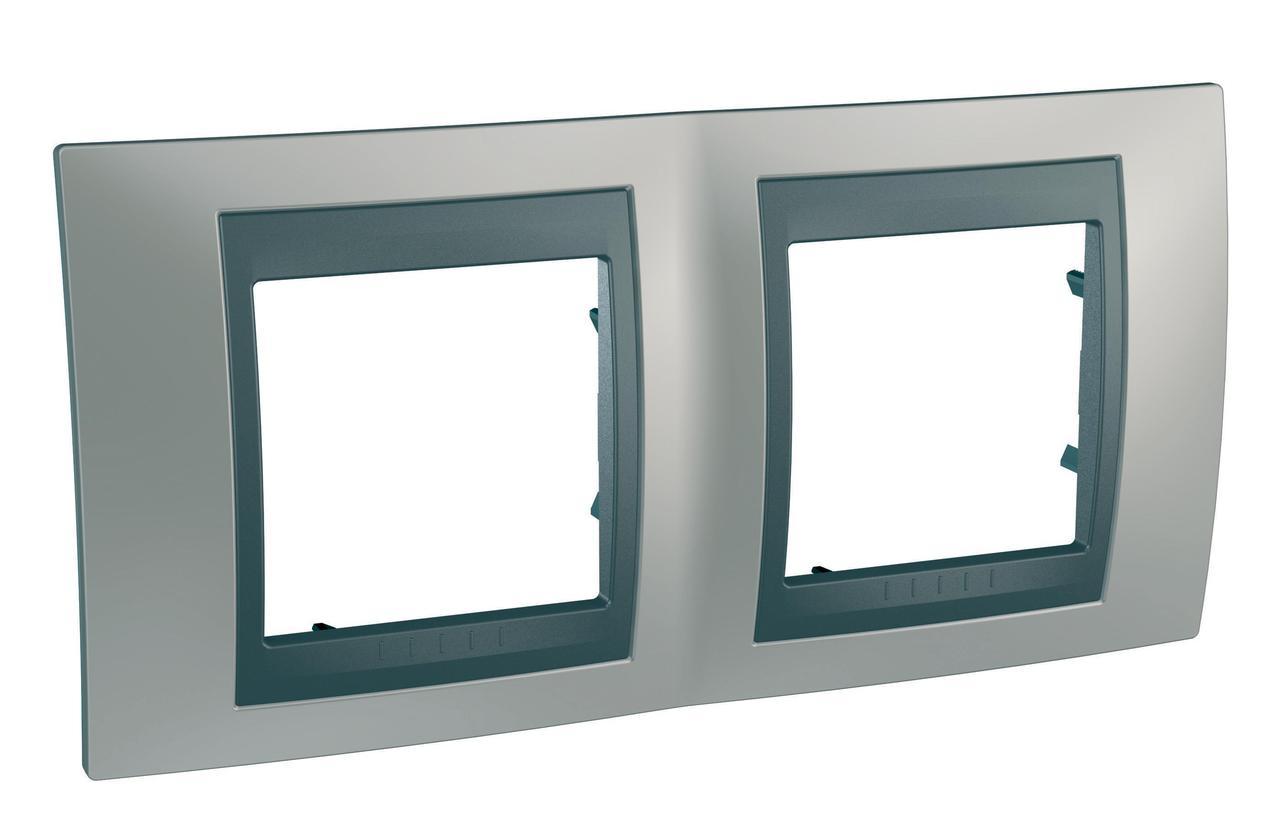 Рамка 2-ая (двойная), Никель/Графит (металл), серия UNICA TOP/CLASS, Schneider Electric