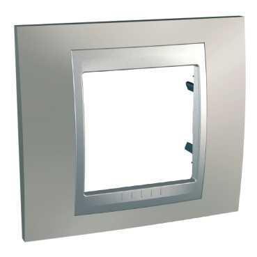 Рамка 1-ая (одинарная), Никель/Алюминий (металл), серия UNICA TOP/CLASS, Schneider Electric