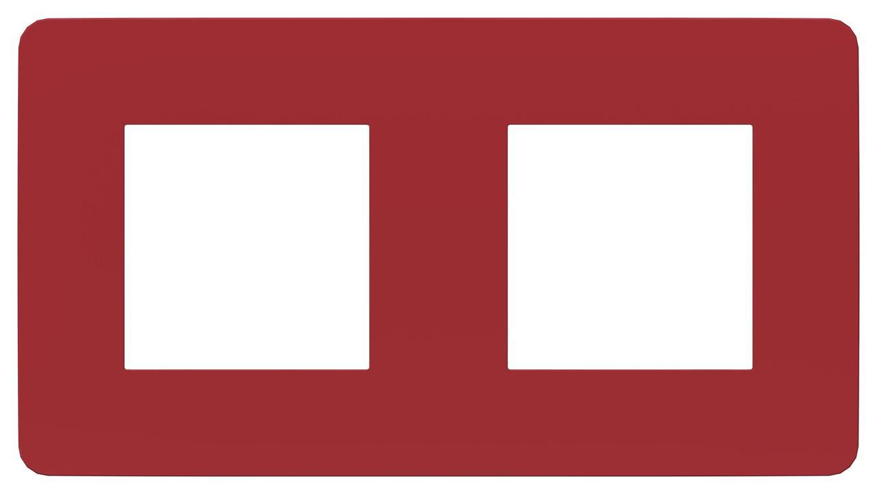 Рамка 2-ая (двойная), Красный/Белый, серия Unica Studio, Schneider Electric
