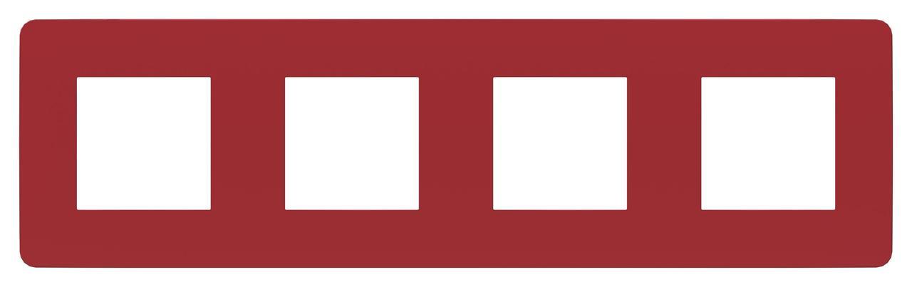 Рамка 4-ая (четверная), Красный/Белый, серия Unica Studio, Schneider Electric