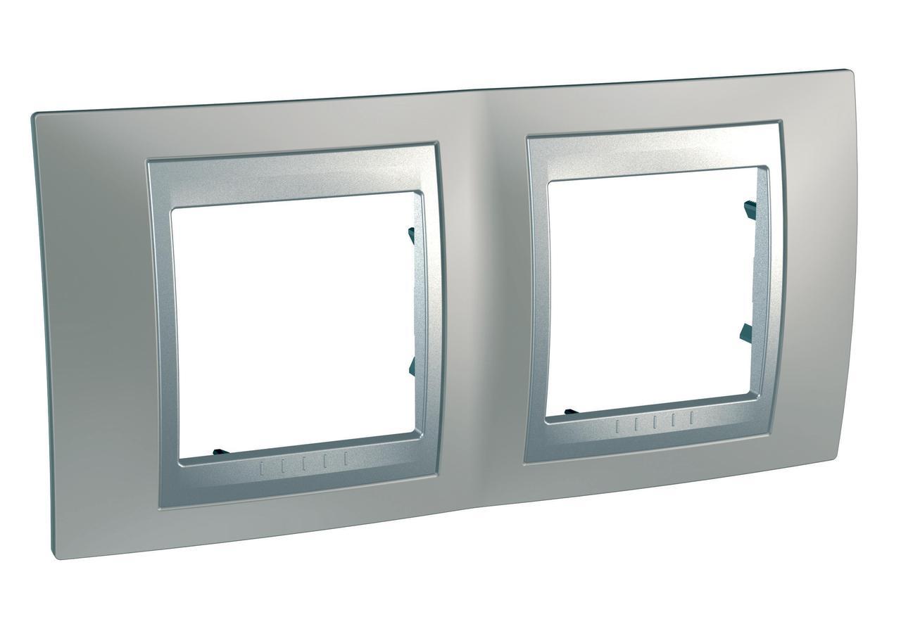Рамка 2-ая (двойная), Никель/Алюминий (металл), серия UNICA TOP/CLASS, Schneider Electric