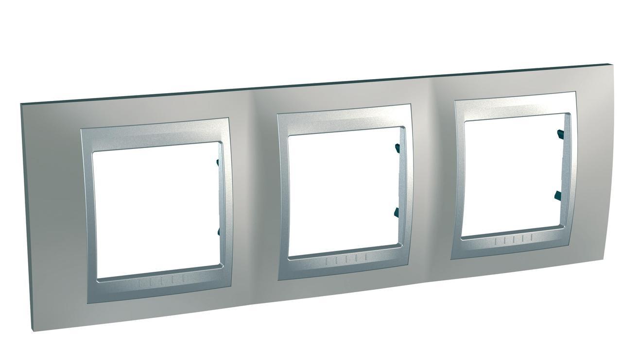 Рамка 3-ая (тройная), Никель/Алюминий (металл), серия UNICA TOP/CLASS, Schneider Electric
