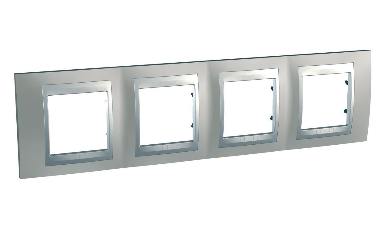 Рамка 4-ая (четверная), Никель/Алюминий (металл), серия UNICA TOP/CLASS, Schneider Electric