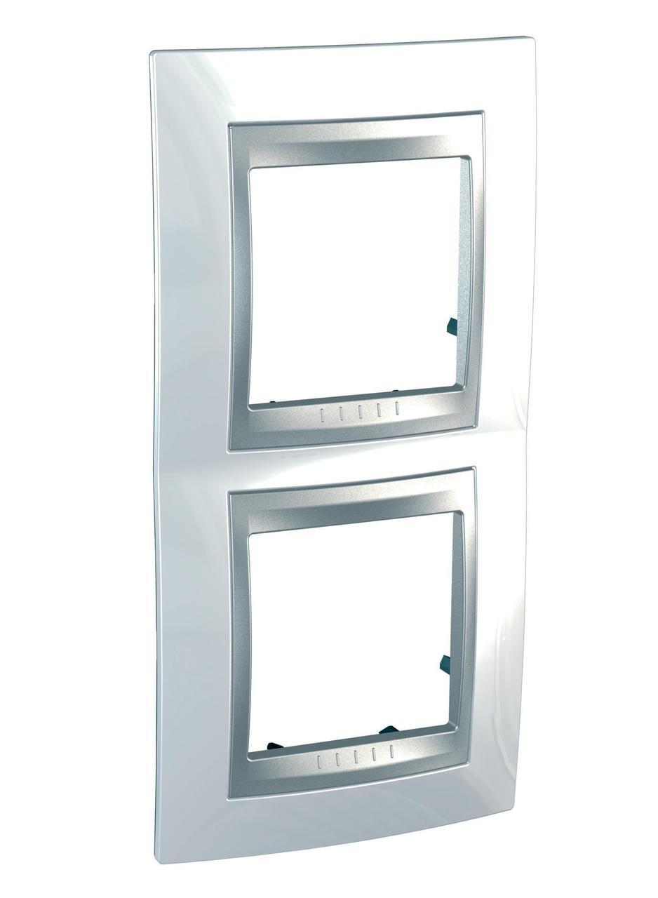 Рамка 2-ая (двойная) вертикальная, Нордик/Алюминий (металл), серия UNICA TOP/CLASS, Schneider Electric