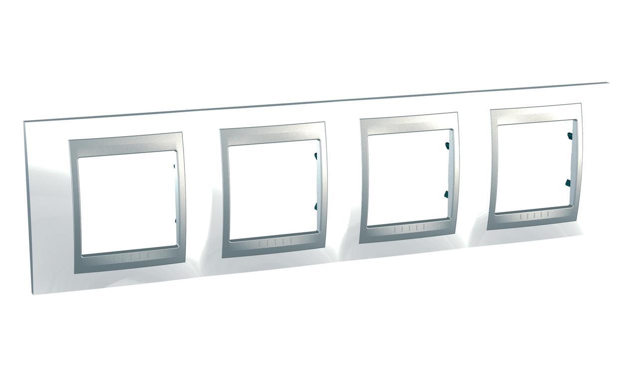 Рамка 4-ая (четверная), Нордик/Алюминий (металл), серия UNICA TOP/CLASS, Schneider Electric