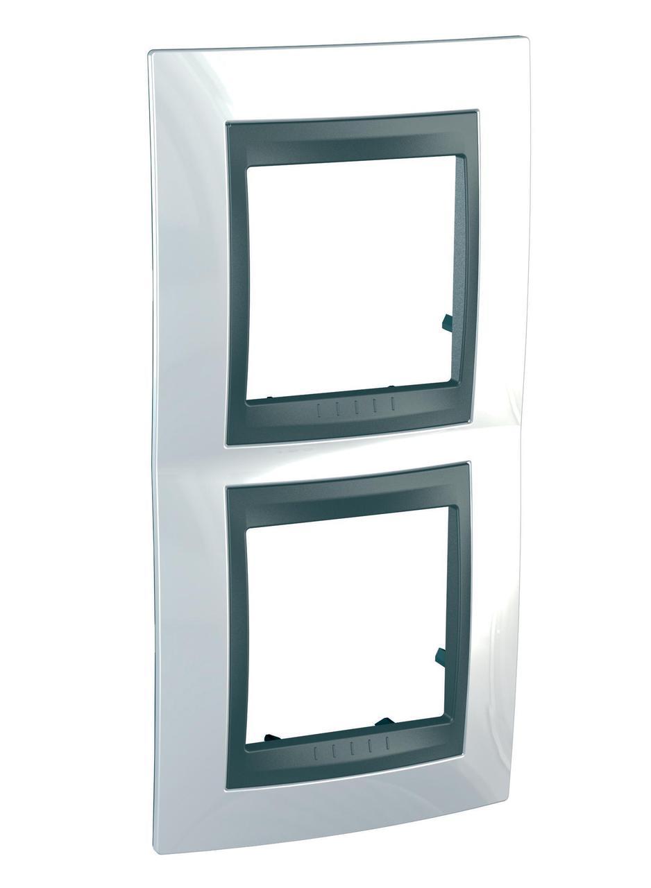 Рамка 2-ая (двойная) вертикальная, Нордик/Графит (металл), серия UNICA TOP/CLASS, Schneider Electric