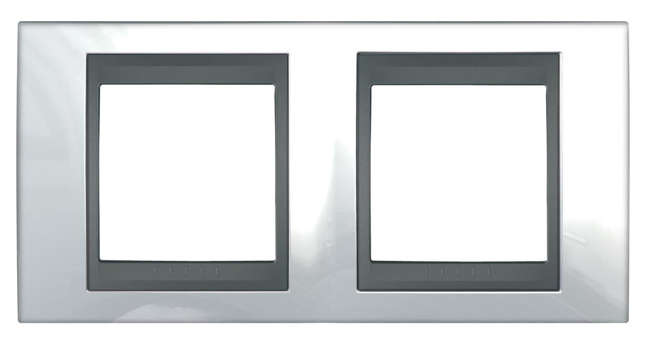 Рамка 2-ая (двойная), Нордик/Графит (металл), серия UNICA TOP/CLASS, Schneider Electric