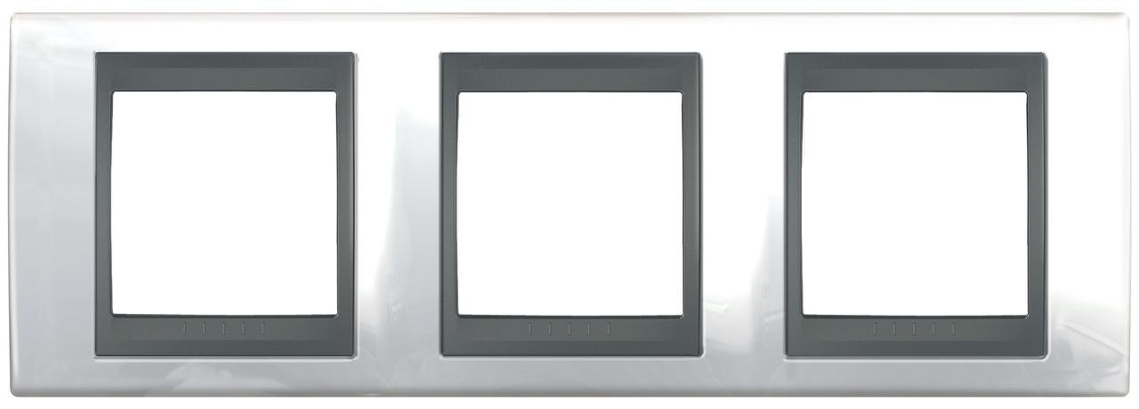Рамка 3-ая (тройная), Нордик/Графит (металл), серия UNICA TOP/CLASS, Schneider Electric