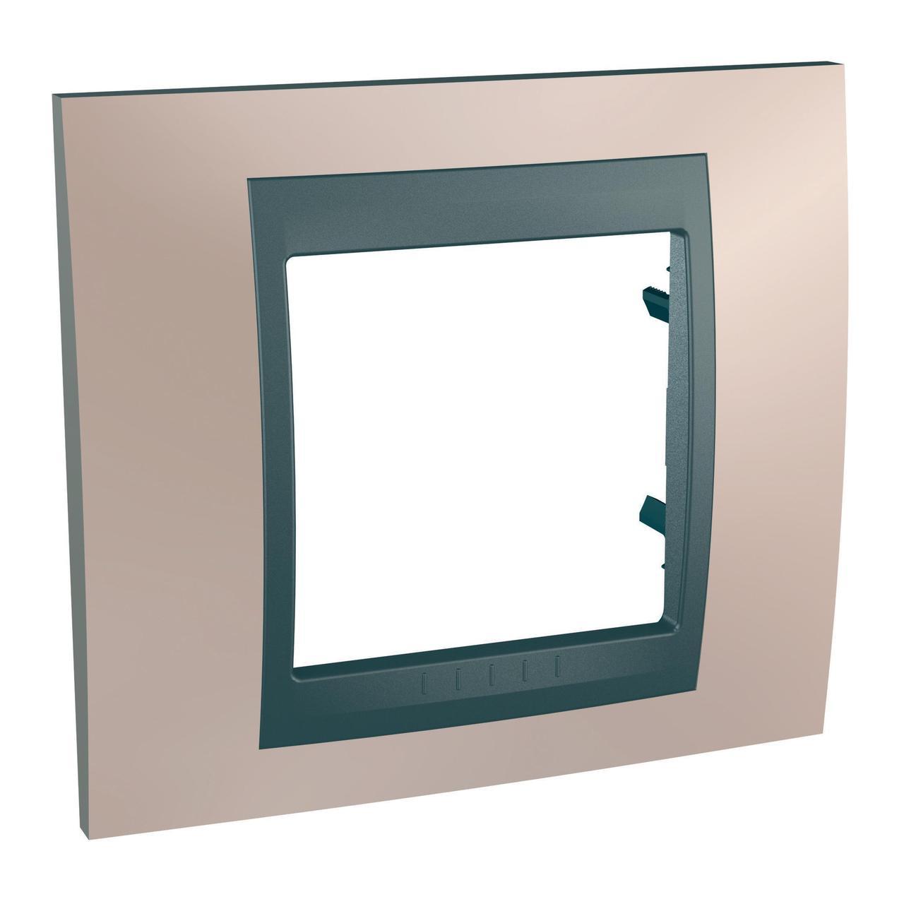Рамка 1-ая (одинарная), Оникс/Графит (металл), серия UNICA TOP/CLASS, Schneider Electric