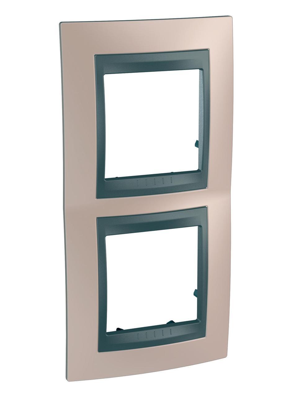 Рамка 2-ая (двойная) вертикальная, Оникс/Графит (металл), серия UNICA TOP/CLASS, Schneider Electric