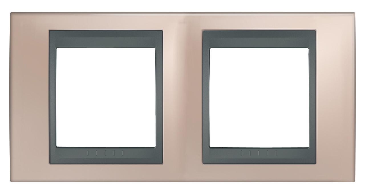 Рамка 2-ая (двойная), Оникс/Графит (металл), серия UNICA TOP/CLASS, Schneider Electric