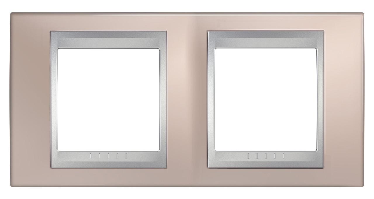 Рамка 2-ая (двойная), Оникс/Алюминий (металл), серия UNICA TOP/CLASS, Schneider Electric
