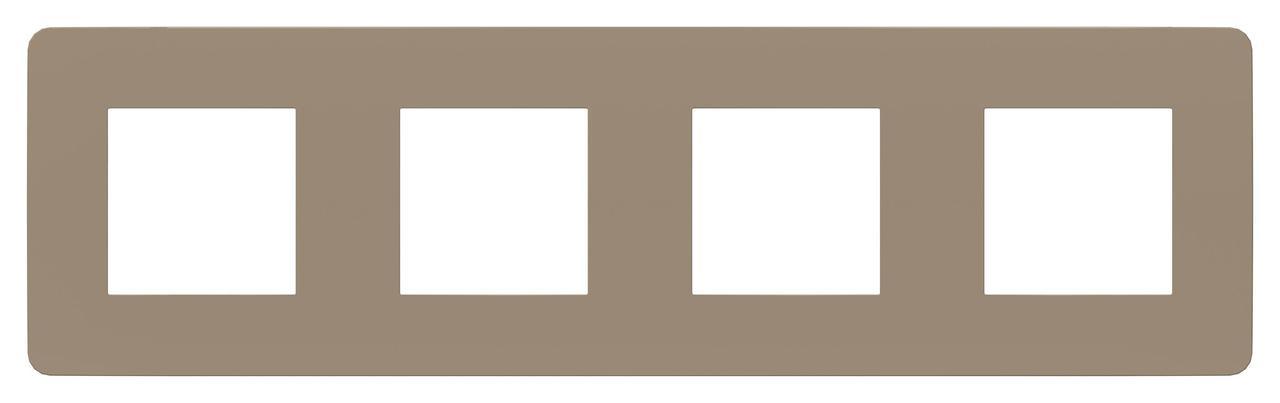 Рамка 4-ая (четверная), Песочный/Белый, серия Unica Studio, Schneider Electric