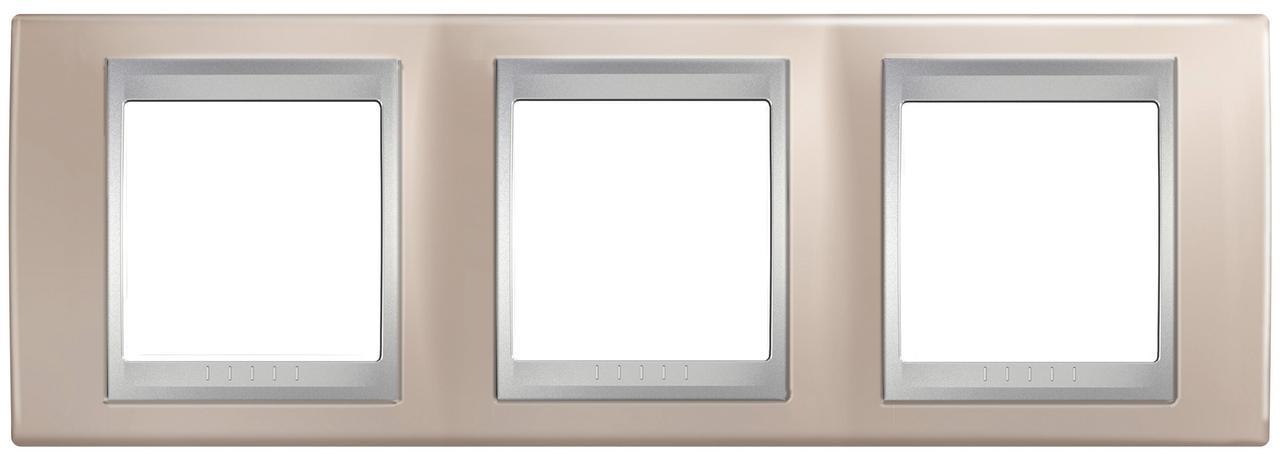 Рамка 3-ая (тройная), Оникс/Алюминий (металл), серия UNICA TOP/CLASS, Schneider Electric