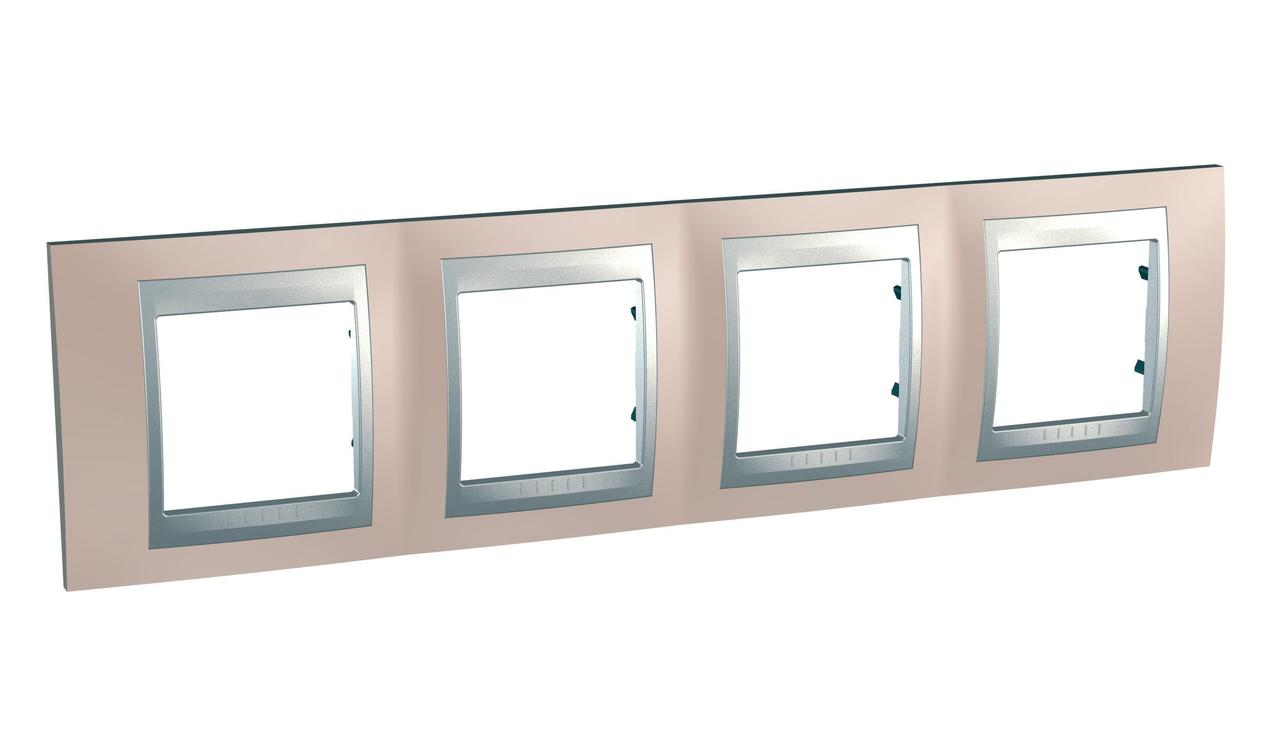 Рамка 4-ая (четверная), Оникс/Алюминий (металл), серия UNICA TOP/CLASS, Schneider Electric