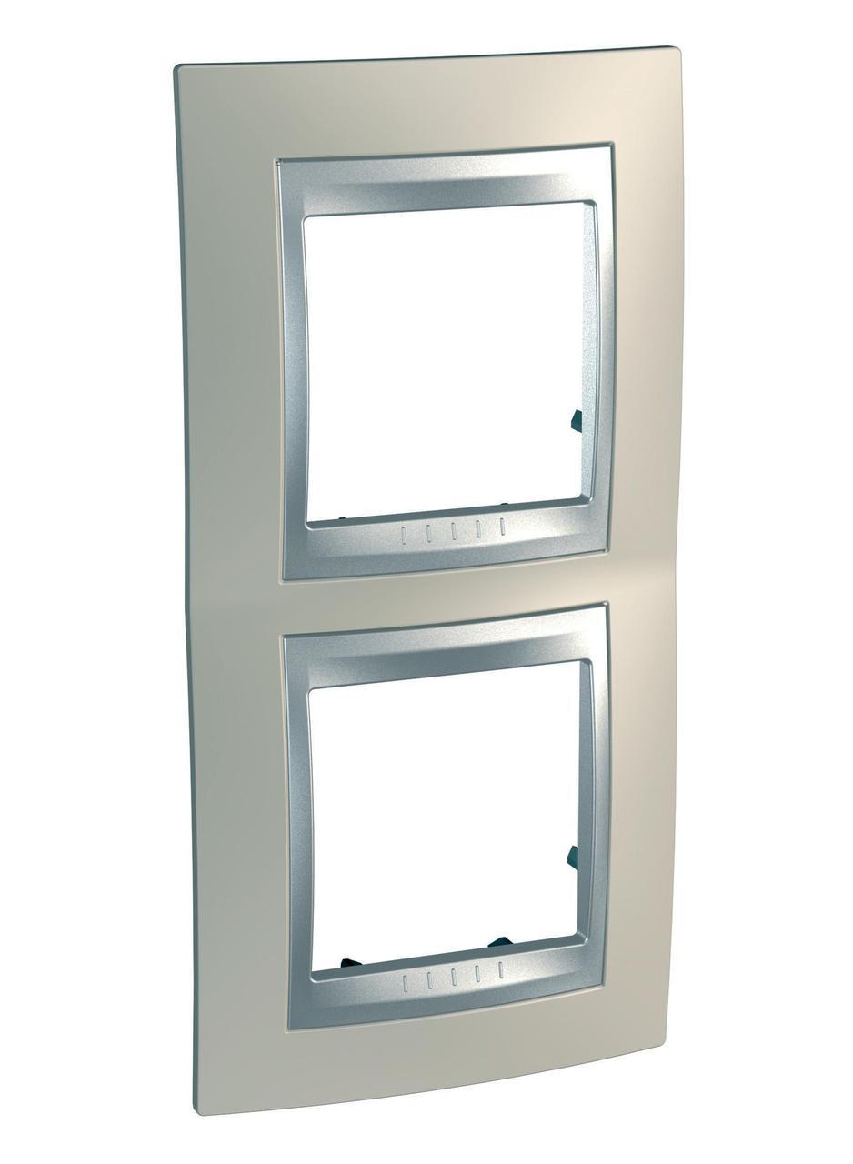 Рамка 2-ая (двойная) вертикальная, Опал/Алюминий (металл), серия UNICA TOP/CLASS, Schneider Electric