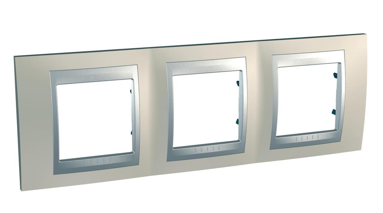 Рамка 3-ая (тройная), Опал/Алюминий (металл), серия UNICA TOP/CLASS, Schneider Electric