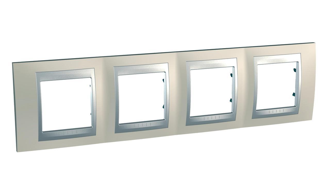Рамка 4-ая (четверная), Опал/Алюминий (металл), серия UNICA TOP/CLASS, Schneider Electric