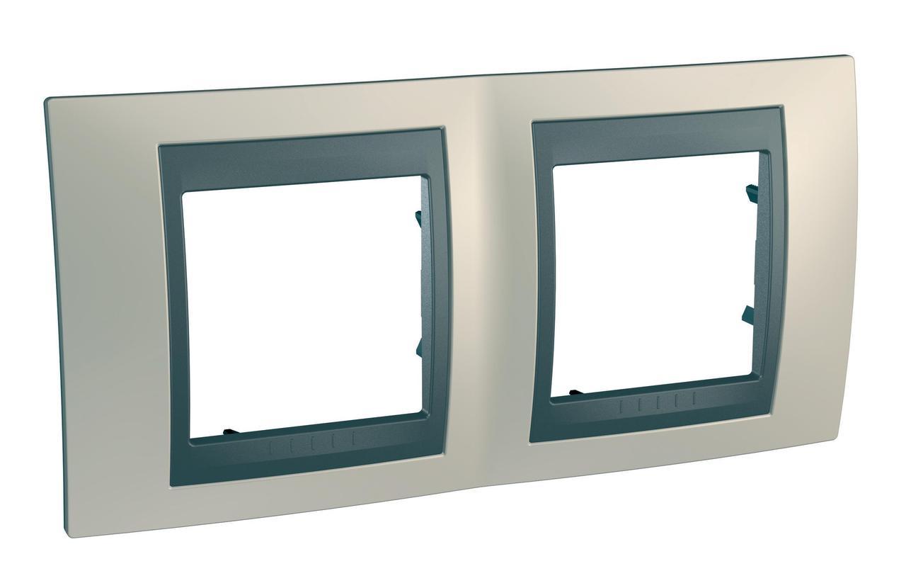 Рамка 2-ая (двойная), Опал/Графит (металл), серия UNICA TOP/CLASS, Schneider Electric