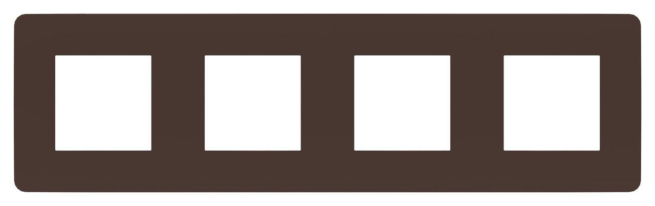 Рамка 4-ая (четверная), Шоколад/Белый, серия Unica Studio, Schneider Electric