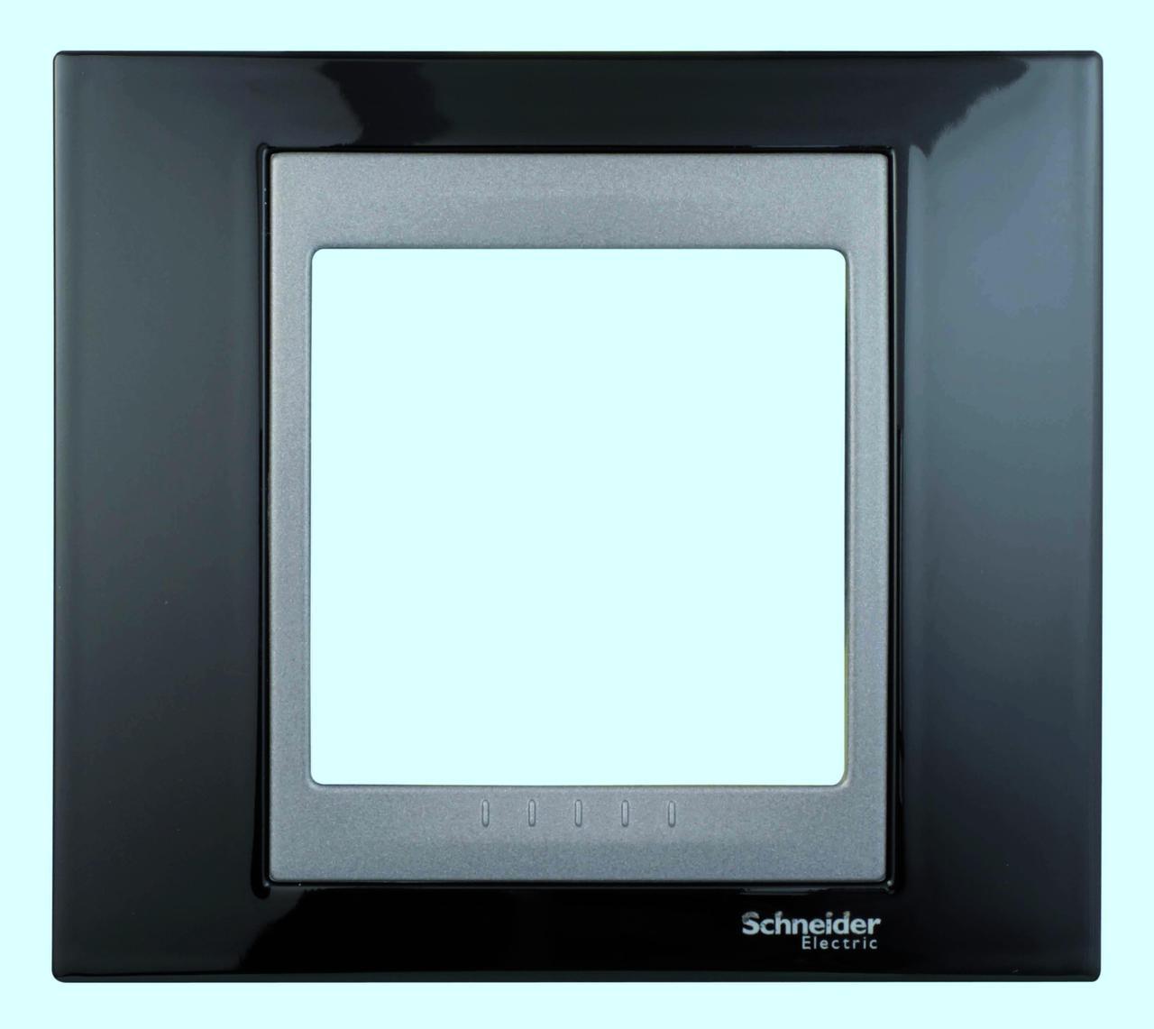 Рамка 1-ая (одинарная), Родий/Графит (металл), серия UNICA TOP/CLASS, Schneider Electric