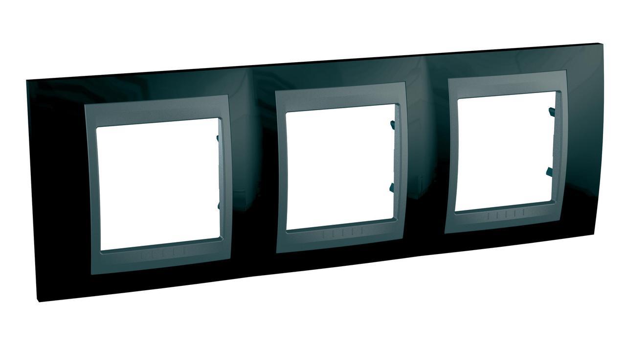 Рамка 3-ая (тройная), Родий/Графит (металл), серия UNICA TOP/CLASS, Schneider Electric