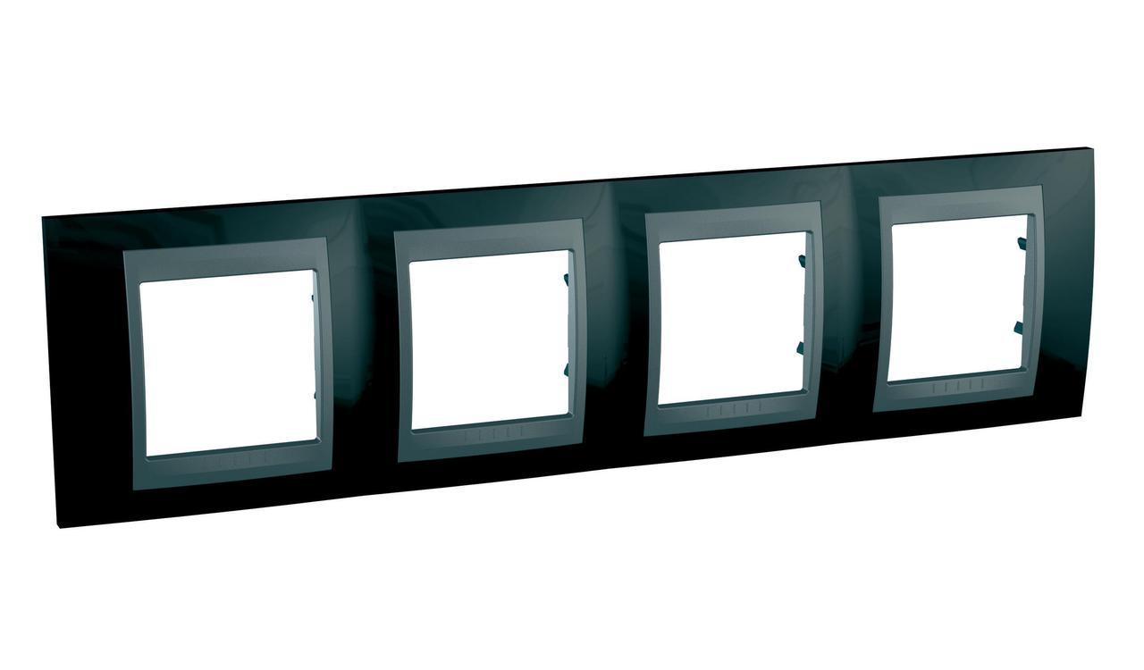 Рамка 4-ая (четверная), Родий/Графит (металл), серия UNICA TOP/CLASS, Schneider Electric