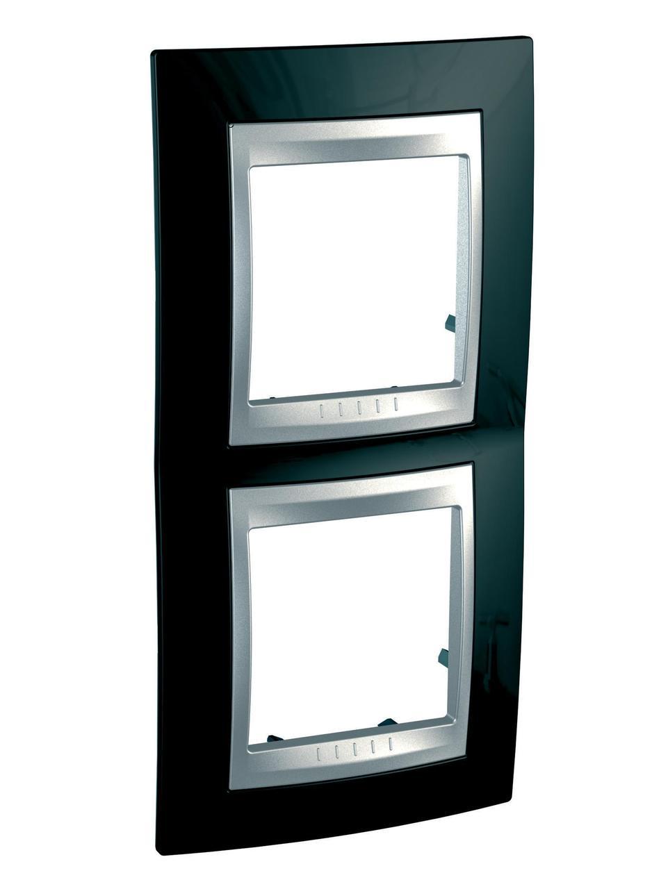 Рамка 2-ая (двойная) вертикальная, Родий/Алюминий (металл), серия UNICA TOP/CLASS, Schneider Electric