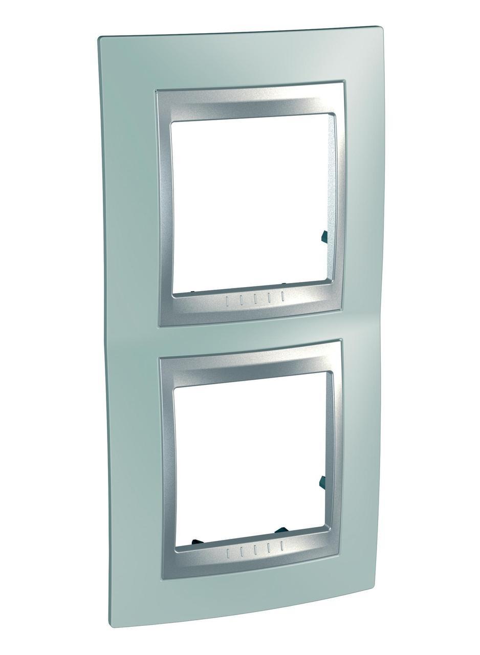 Рамка 2-ая (двойная) вертикальная, Флюорит/Алюминий (металл), серия UNICA TOP/CLASS, Schneider Electric