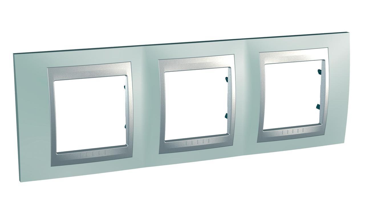 Рамка 3-ая (тройная), Флюорит/Алюминий (металл), серия UNICA TOP/CLASS, Schneider Electric