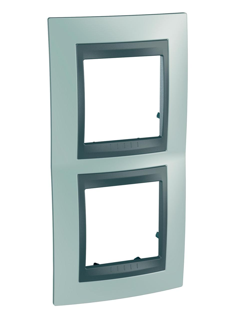 Рамка 2-ая (двойная) вертикальная, Флюорит/Графит (металл), серия UNICA TOP/CLASS, Schneider Electric