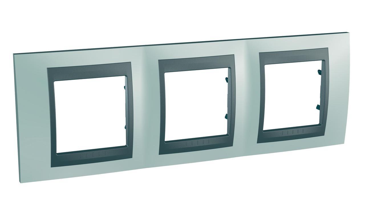 Рамка 3-ая (тройная), Флюорит/Графит (металл), серия UNICA TOP/CLASS, Schneider Electric