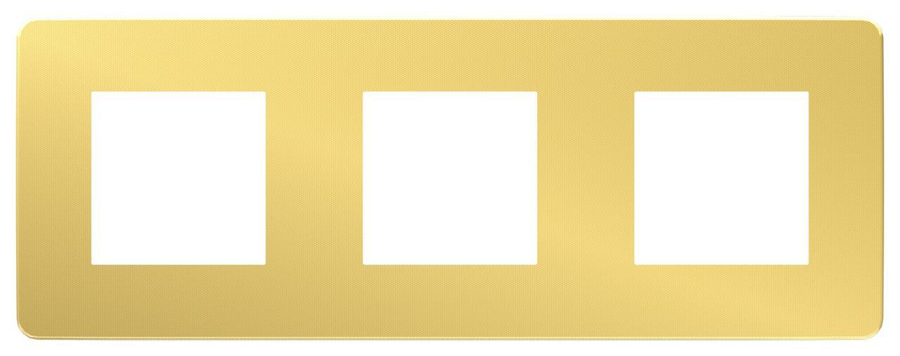 Рамка 3-ая (тройная), Золото/Бежевый, серия Unica Studio, Schneider Electric