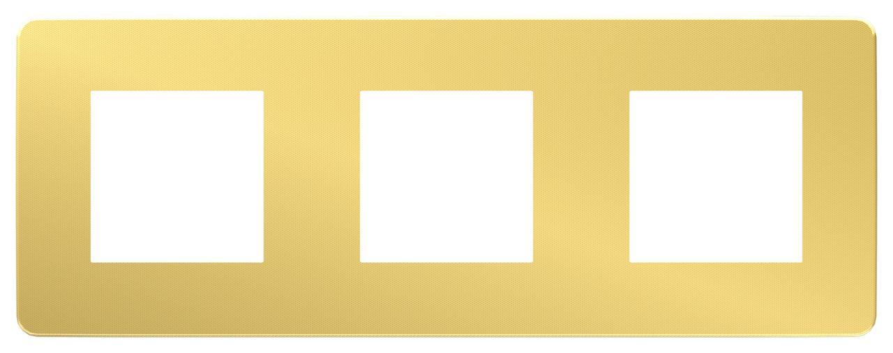 Рамка 3-ая (тройная), Золото/Белый, серия Unica Studio, Schneider Electric