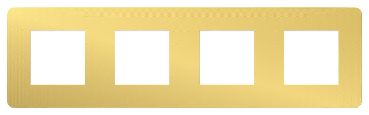 Рамка 4-ая (четверная), Золото/Бежевый, серия Unica Studio, Schneider Electric