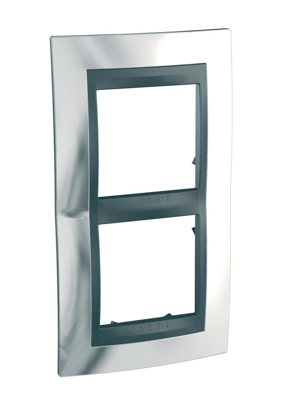 Рамка 2-ая (двойная) вертикальная, Хром/Алюминий (металл), серия UNICA TOP/CLASS, Schneider Electric