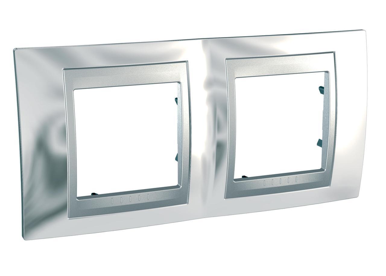 Рамка 2-ая (двойная), Хром/Алюминий (металл), серия UNICA TOP/CLASS, Schneider Electric