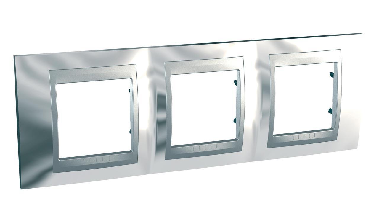 Рамка 3-ая (тройная), Хром/Алюминий (металл), серия UNICA TOP/CLASS, Schneider Electric