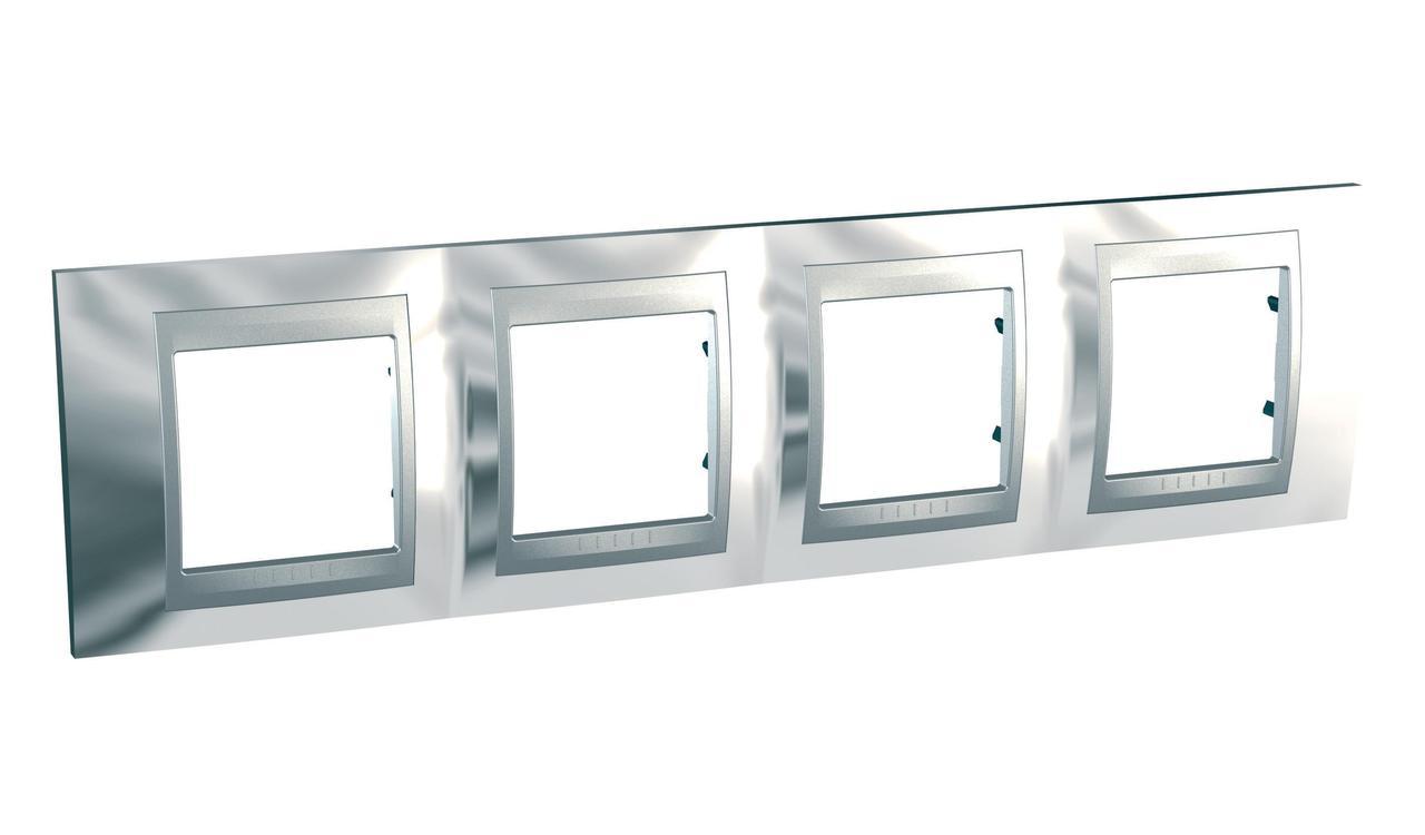 Рамка 4-ая (четверная), Хром/Алюминий (металл), серия UNICA TOP/CLASS, Schneider Electric