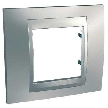 Рамка 1-ая (одинарная), Хром матовый/Алюминий (металл), серия UNICA TOP/CLASS, Schneider Electric