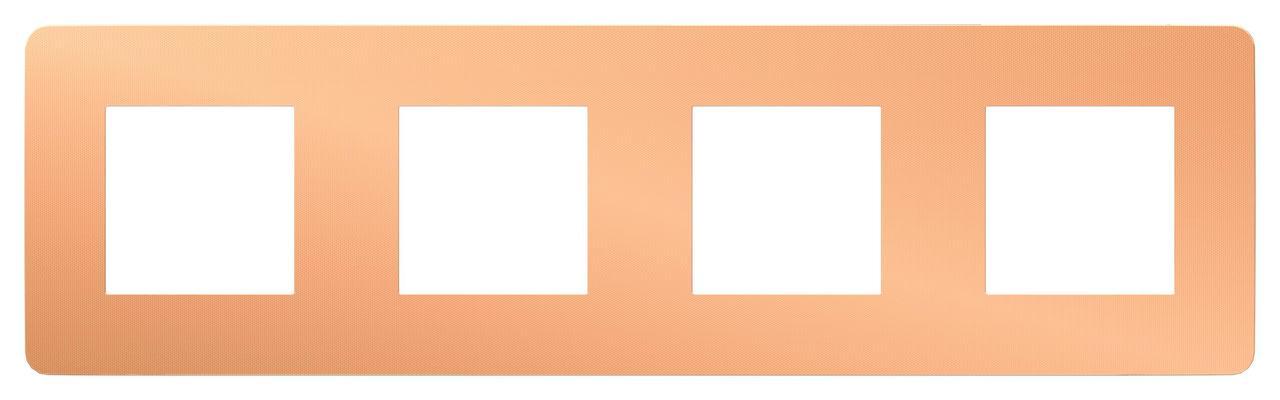 Рамка 4-ая (четверная), Медь/Белый, серия Unica Studio, Schneider Electric
