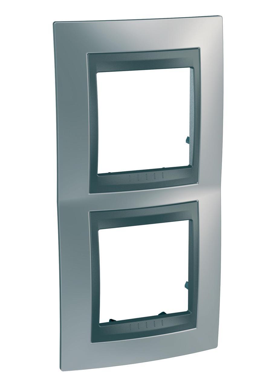 Рамка 2-ая (двойная) вертикальная, Хром матовый/Графит (металл), серия UNICA TOP/CLASS, Schneider Electric