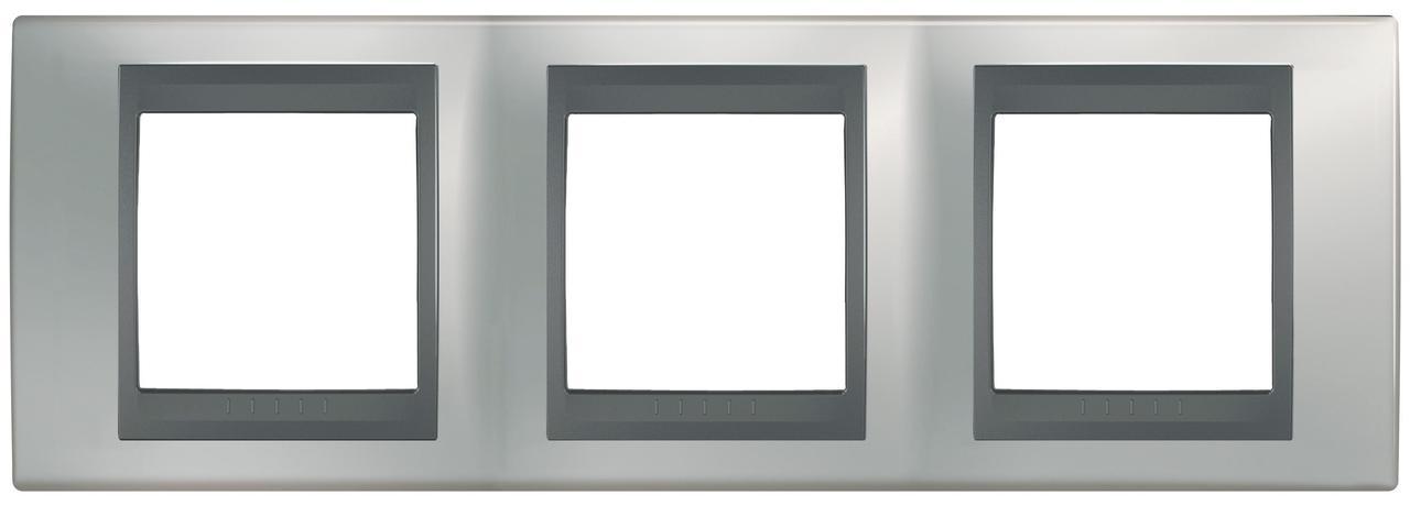 Рамка 3-ая (тройная), Хром матовый/Графит (металл), серия UNICA TOP/CLASS, Schneider Electric